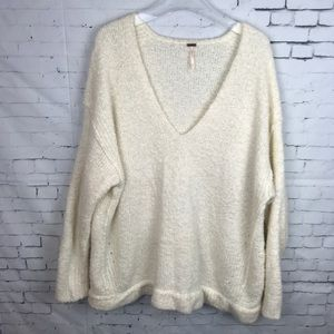 Free People Cream Colored Oversized V Neck Sweater